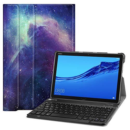 Fintie Huawei MediaPad M5 Lite 10 Bluetooth QWERTZ Tastatur Hülle - Ständer Schutzhülle mit Magnetisch Abnehmbarer Drahtloser Deutscher Bluetooth Tastatur für Huawei M5 Lite 10.1 Zoll, Die Galaxie
