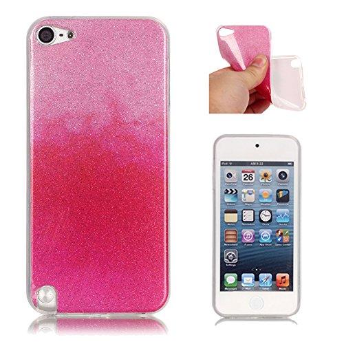 Handyhülle für iPod Touch 5G, Aeeque iPod Touch 5/6th Gen Ultra Slim Glitzer Weich Luxuriös Glänzend Glossy Kratzfeste Stoßdämpfung TPU Flexibel Schutzhülle Handy Tasche Bumper Back Case Cover - Farbverlauf Pink Rot