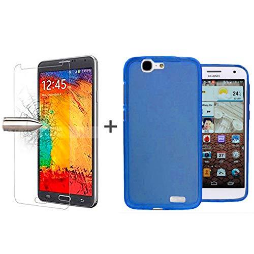 TBOC® Pack: Blau Gel TPU Hülle + Hartglas Schutzfolie für Huawei Ascend G7. Ultradünn Flexibel Silikonhülle. Panzerglas Displayschutz in Kristallklar in Premium Qualität.