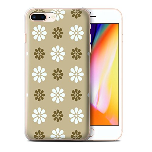 Stuff4 Hülle / Case für Apple iPhone 8 Plus / Multipack / Muster mit Blütenblättern Kollektion Beige