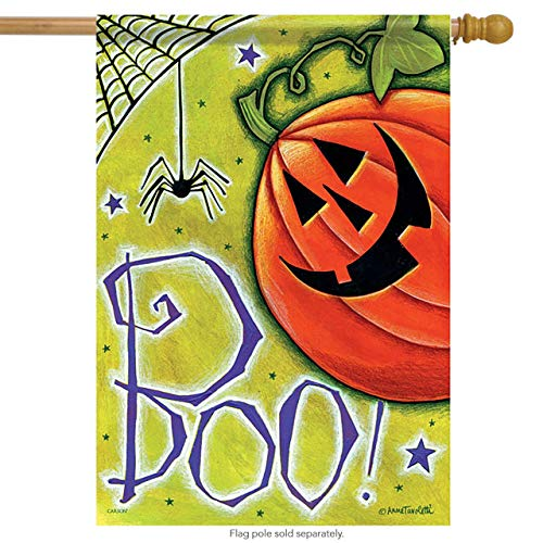 CHKWYN Boo Pumpkin Spider Halloween House Flag - - 2 Sided Message for Party Outdoor Home Decor Size: 28-inches W X 40-inches H