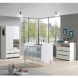Lomadox Babyzimmer Set im Retro-Design Lack weiß, Kiefer massiv, 60x120cm Babybett, Wickelkommode, 90cm Kleiderschrank