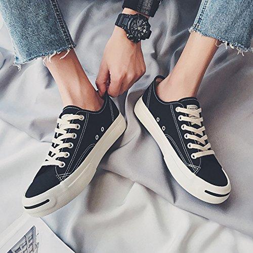 Wuyulunbi @ Printemps Et Automne Blanc Toile Chaussures Chaussures De Sport Noir