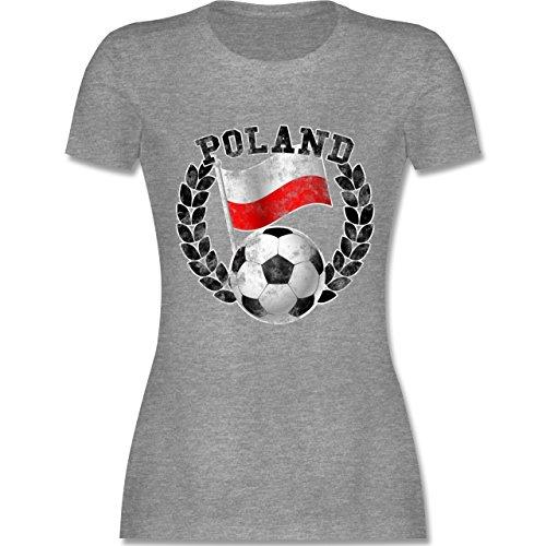 EM 2016 - Frankreich - Poland Flagge & Fußball Vintage - tailliertes Premium T-Shirt mit Rundhalsausschnitt für Damen Grau Meliert
