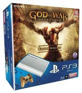 Console PS3 500 Go blanche + Manette PS3 Dual Shock 3 blanche 'God of War : Ascension' + God of War : Ascension - édition spéciale