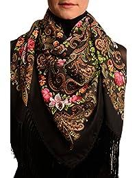 "Black ""Tzarsky"" Slavonic Russian Folk Style Shawl - Black Floral Scarf"