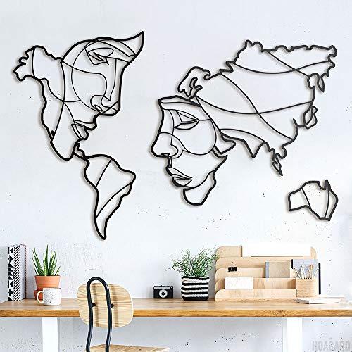 Hoagard Mappa del Mondo Metallo   Volti Della Mappa Del Mondo   Faces of World Map   Decorazione da Parete   105 cm x 68 cm, Ottima Idea Regalo Originale e Unica