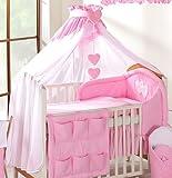 Luxus Baby Krone Betthimmel/Moskitonetz nur große 480cm für Kinderbett, weiß/pink uni