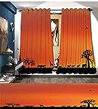 smallbeefly Afrika Verdunkeln Breit Vorhänge Panorama von Safari Tiere Möwen Lichtreflexe in Hintergrund Bei Sunset Scenery Decor Vorhänge, von Burnt Orange Schwarz