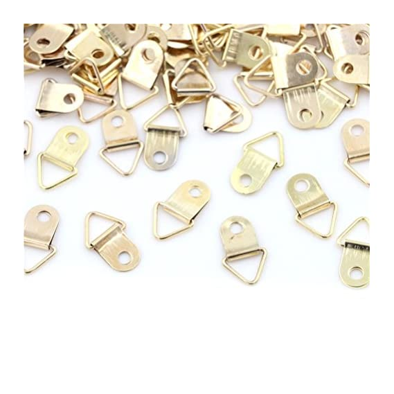 AST Works 100pcs Mini Golden Triangle D-Ring Picture Photo Frame Hook Hanger 10x20mm##