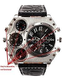 ufengke® mode übergroßen metallischen maßstab multi hilfszifferblätter doppelte bewegung sport handgelenk armbanduhren für männer,schwarz