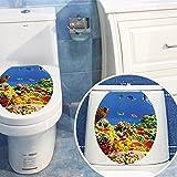 KESOTO 3D Wasserdichter Toilettendeckel Toilettensitz Aufkleber WC Sitz Stickers - Unterwasserwelt