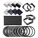 Neewer ND Filter Kit for Cokin P Series: (8)ND Filtes (Full and Graduated), (9)Metal Adapter Ring, (2)Square Filter Holder, (2)Square Lens Hood