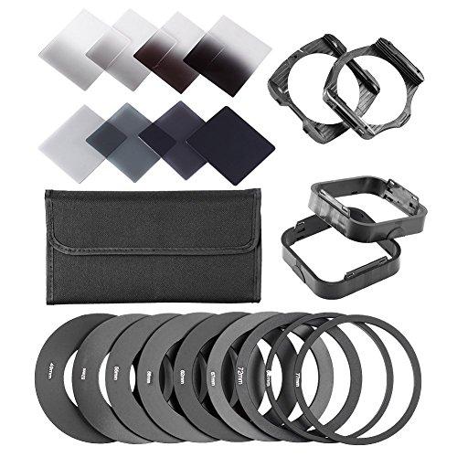 Neewer® komplette Filtersatz für Cokin P-Serie umfasst (8) Neutral Dichte ND-Filter Set (Full ND2 ND4 ND8 ND16; Diplom G.ND2 G.ND4 G.N8 G.ND16), (9) Metall-Adapterring (49mm / 52mm / 55mm / 58mm / 62mm / 67mm / 72mm / 77mm / 82mm), (2) Quadratisch Filterhalter, (2) Quadratisch Streulichtblende (1) Filterschicht Tragetasche von Neewer