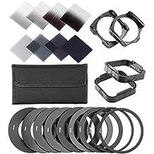 Neewer® completo Kit de filtro ND para Cokin P Series, incluye (8) Set de filtros de densidad ND de neutro (completo ND2 ND4 ND8 ND16; Graduado G.ND2 G.ND4 G.N8 G.ND16), (9) anillo adaptador metálico (49 mm/52 mm/55 mm/58 mm/62 mm/67 mm/72 mm/77 mm/82 mm), (2) Porta filtro cuadrado, (2)parasol cuadrado, (1) filtro de llevar bolsa