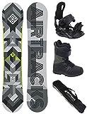 AIRTRACKS Snowboard Komplett Set / CUBO Wide + Snowboard Bindung Star + Snowboardboots + Sb Bag / 159 161 165 168 171 cm