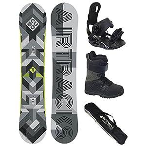 Airtracks Snowboard Komplett Set Cubo Wide + Snowboard Bindung Star + Snowboardboots + Sb Bag / 159 161 165 168 171 cm