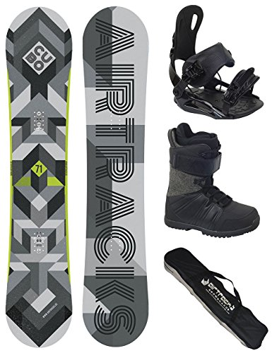 AIRTRACKS Snowboard Set / Board Cubo Wide 159 + Snowboard Bindung Star + Boots Star Grey 42 + Sb Bag