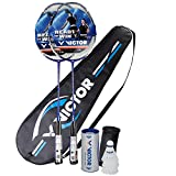 Victor Ti 7 Graphite Badminton 2 Player Set - 2 Racquets, 1 Bag & 3 Shuttlecocks - Blue / White / Black