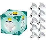 ATAPA 10 x lampadine alogene LED GU10 da 3.0 watts, 260 lumen, angolazione della luce a 120°, luce molto bianca naturale, 3000 Kelvin, riflettore/spotlight illuminazione sotto l'intonaco per la doccia del bagno, cucina, soggiorno, veranda, giardino, biblioteca