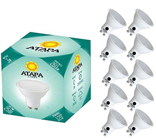 ATAPA 10 x GU10 LED lampe 3 Watt ersetzt 40W 260 Lumen mit 120° Abstrahlwinkel Halogen LED sehr helles natürlich warmes weißes Licht 3000 Kelvin, Strahler/Spotlight Glühbirne Energiesparlampe sehr hell Einbauleuchten led Birnen Led Leuchtmittel Glühbirne für Dusche Badezimmer, Küche Wohnzimmer (75w Ring Licht Dimmbar)