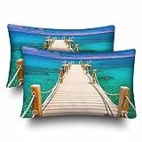 InterestPrint Natürliche Tropische Sonne Meer Insel Koralle Reef Kokosnuss Holz Brücke Kissenbezug Standard Größe 20x30 Set von 2 rechteckigen Kissenbezügen für Zuhause Couch Sofa Bettwäsche
