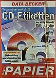 12 CD-Etiketten aus hochglänzender Silberfolie. Verdammt nah am Original! Geeignet für: Tintenstrahl-Drucker (-> nicht für Laserdrucker).