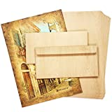 TATMOTIVE 05-0125-0090-00010 Briefpapier Set MADEIRA Holz-Optik 25 Sets 25 + 25 Blätter+Umschläge - Beidseitige Struktur, 90 G/QM DIN A4, Umschläge
