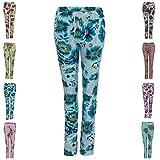 Medicate Damen Jogginghose Sommerhose Strandhose aus 100% Baumwolle Blumen-Muster XL Blau