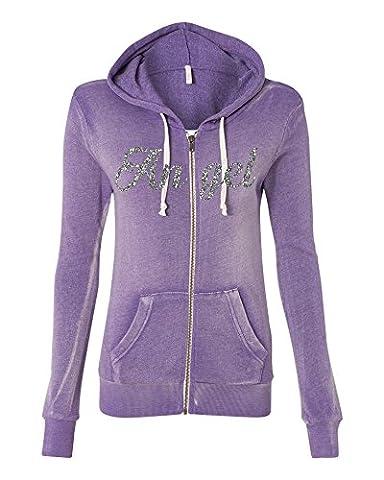 Allntrends Women's Angel Fleece Zip Hooded Sweatshirt Fashion Cool Stuff (2XL, Orchid)