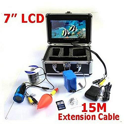 SuRose 15 mt Fischfinder, Unterwasserfischen Kamera Videorecorder DVR Funktion 7 Zoll Farbe LCD Monitor 1000 tvl 12 led/ir Nachtsichtkabel (Wolf-kamera Angeln)