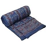 Hecho a mano elefante indio del edredón de impresión/colcha con estampado azul rey rojo, algodón poliéster, azul, rojo, matrimonio