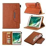 MOTIKO iPad Mini 4321Case Premium Flip Wallet Case, Buch Druck Design, Multiwinkel Ständer, Smart Cover mit Auto Sleep/Wake Funktion für iPad Mini 4/Mini 3/Mini 2/Mini 1–Braun