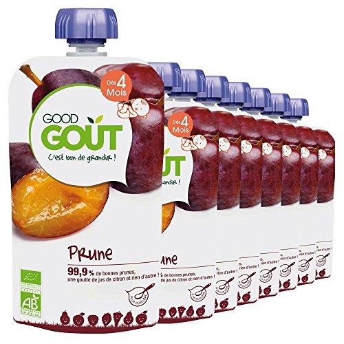 Good Goût Bio Purée de Fruits à la Prune dès 4 Mois 8 Gourdes de 120 g
