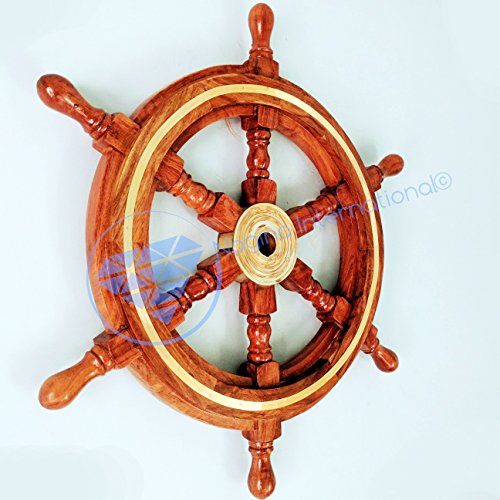 Nautical Premium Sailor's Hand Crafted Brass & Wooden Ship Wheel | Luxury Gift Decor | Boat Collectibles | Nagina International (30 Inches, Brass Ring)