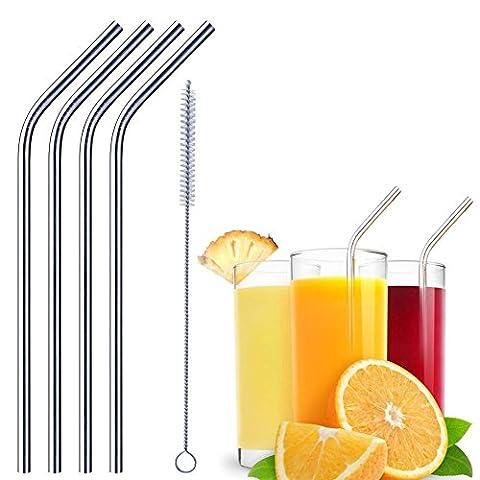 Paille en acier inoxydable, ANGTUO Beverage Sir Bar Santé réutilisable et lavable avec brosse propre
