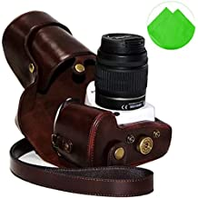 First2savvv XJPT-K30-10G11 Funda Cámara cuero de la PU cámara digital bolsa caso cubierta con correa para Pentax K5II K5IIS K30 K50 lente with 18-55 18-135 mm lens marron oscuro + paño de limpieza