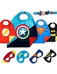 LAEGENDARY PRlME Day Special Disfraces de Superhéroes para Niños - Regalos de Cumpleaños para Niños - 4 Capas y Máscaras - Logo Brillante de Capitán América - Juguetes para Niños y Niñas