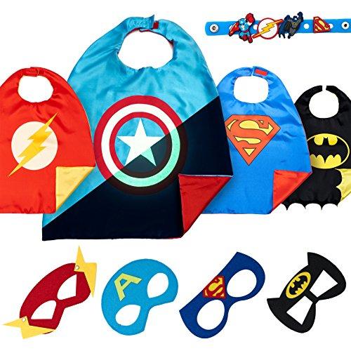 LAEGENDARY Superhelden Kostüme für Kinder - 4 Capes und Masken - Kinderspielzeug für Weihnachte - Im Dunkeln Leuchtendes Captain America Logo - Spielsachen für Jungen - Karneval Fasching (Flash Das Mädchen Kostüm Für)