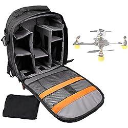 Sac à dos noir de transport pour mini drone PNJ DR-50, PNJ Cicada plus (Elanview), PNJ Smart Fly & LS-Pico et accessoires - avec compartiments modulables, par DURAGADGET