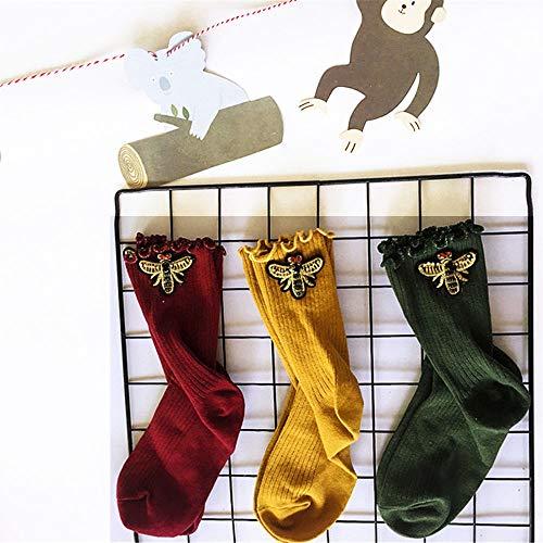 LCLrute 3 in1 Winter weiblich Rohr socken hip hop Biene Muster Mode Weihnachten ins Stil wellig Seite Weihnachten Ins Stil Mitte Tube Leoped Print Socken -