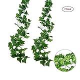 2 Stück Efeugirlande Künstlich Hängende Rebe 2.5M, 56 Stücke Größen Blätter Efeu Efeuranke...