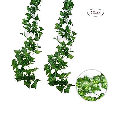 Jandrun 2 pack guirlandes lierres fleurs artificielles à la vigne plante simulation ivy2M, 80 feuillages