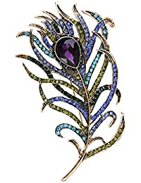 Ikigai Peacock Feather Brooch Metal Alloy And Rhinestone Crystals (Purple, Blue, Turquoise, Green, Antique Brass...