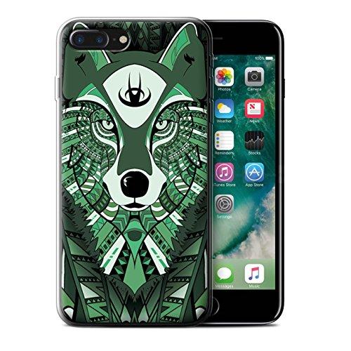 Coque Gel TPU de STUFF4 / Coque pour Apple iPhone 7 Plus / Loup-Bleu Design / Motif Animaux Aztec Collection Loup-Vert