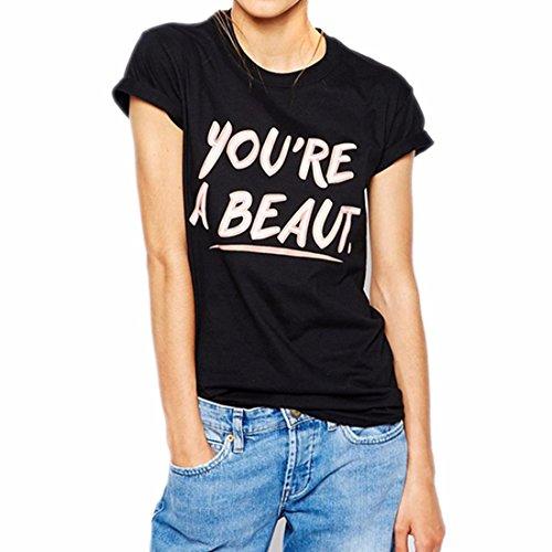 Femmes Casual Noir Imprime Manches Courtes Ras Du Cou Slim Skinny T-Shirt Top Blouse Noir