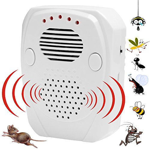 Klebrig Outfit (Ultraschall Schädlingsbekämpfer | 3 In 1 Schädlingsbekämpfung [Ultraschall / elektromagnetische Welle / Schallwellen] - hält weg Nagetiere, Mäuse, Ratten, Kakerlaken, Spinnen - für Indoor & Outdoor)