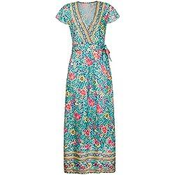 Vestido de Estilo de Vacaciones de Playa Largo con Cuello en V de Manga Corta con Estampado Floral de Moda para Mujer, Vestido de Verano de Moda(M-Verde)