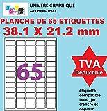100 fogli A4 65 adesivo 38 x 21 mm etichetta di carta etichetta adesiva CA per una stampante a getto d'inchiostro e laser
