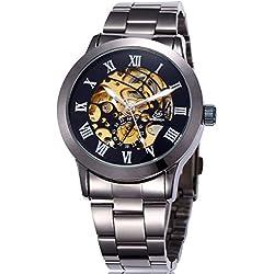 Alienwork mechanische Automatik Armbanduhr Skelett Automatikuhr Uhr schwarz Metall W9269-04